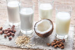 Different types of non-dairy milk royalty free stock photos