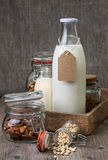 Different types of nut milk Stock Photo