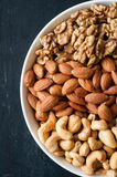 Different types of nuts in bowl.  Royalty Free Stock Photo