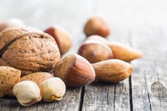 Different types of nuts in the nutshell. Royalty Free Stock Image