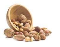 Different types of nuts in the nutshell. Royalty Free Stock Photography