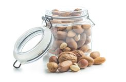 Different types of nuts in the nutshell. Stock Photos