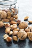 Different types of nuts in the nutshell. Stock Photo