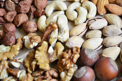 Different types of nuts Stock Photography