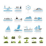 Different Types Of Boat And Ship Icons Stock Photo