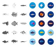 Free Different Types Of Fish Mono,flat Icons In Set Collection For Design. Marine And Aquarium Fish Vector Symbol Stock Web Stock Photos - 147123063