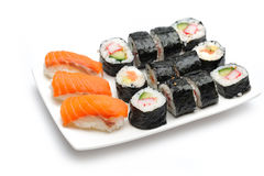 Different Types Of Maki Sushi In Sushi Set Stock Photos
