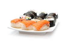Different Types Of Maki Sushi In Sushi Set Royalty Free Stock Image