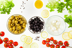 Different types of olives and mozzarella Royalty Free Stock Images