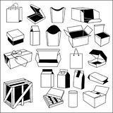 Different types of packages box crate bag cylinder drawer royalty free illustration