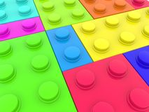 Different types of paint toy bricks. In background stock illustration