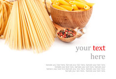 Different types of pasta & dishes Royalty Free Stock Image
