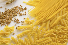 Different types of pasta. Ears of wheat royalty free stock photo