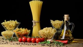 Different types of pasta. Different kinds of pasta from durum wheat stock footage