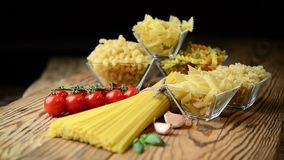 Different types of pasta. Different kinds of pasta from durum wheat stock video