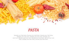 Different types of pasta & spices Stock Photography