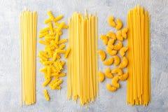 Different types of pasta stock photo