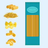 Different types of pasta whole wheat corn rice noodles organic food macaroni yellow nutrition dinner products vector Stock Image
