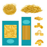 Different types of pasta whole wheat corn rice noodles organic food macaroni yellow nutrition dinner products vector Royalty Free Stock Images