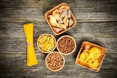 Different types of pasta Stock Photos