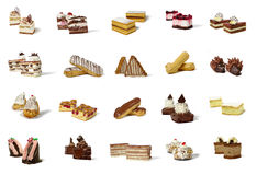 Different types of pastry products. Array of twenty different types of pastry products, grouped in twos, on a white background Royalty Free Stock Photos