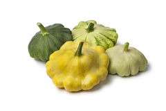 Different types of  Pattypan Squashes Royalty Free Stock Photo