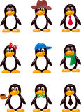 Different types of penguins. Collection af different types of  penguins with different clothes isolated on white background Stock Image