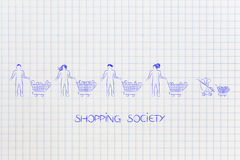 Different types of people all with a shopping cart including a b Royalty Free Stock Images
