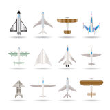 Different types of plane icons Stock Images