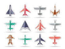 Different types of plane icons Royalty Free Stock Image