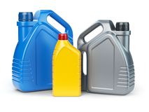 Different types of plastic canisters of motor oil on white isola royalty free illustration
