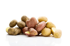 Different types of potatoes on white background royalty free stock photo