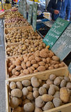 Different Types of Potatoes in Wooden Crates sold at Morning Wet Market Stock Photography