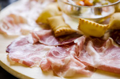 Different types of prosciutto and salami Stock Photography