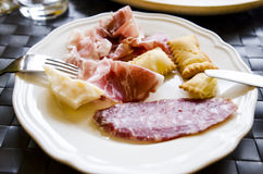 Different types of prosciutto and salami Royalty Free Stock Images