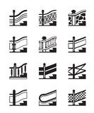 Different types of railings. Vector illustration Royalty Free Stock Photography