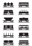 Different types of railway wagons Royalty Free Stock Photography