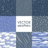 Different types of rainfall. Autumn rainy, snow and other seamless pattern collection. Rain and snow weathers, rainy pattern illustration Royalty Free Stock Photography