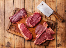 Different types of Raw fresh meat Steaks royalty free stock images