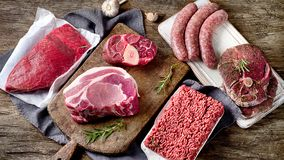 Different types of raw meat on dark wooden background. Different types of raw meat on a rustic wooden background. Top view Royalty Free Stock Photos