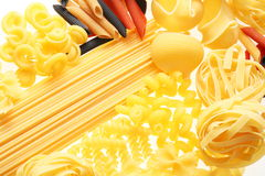 Different types of  raw pasta. Royalty Free Stock Images