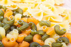 Different types of raw pasta Stock Photo