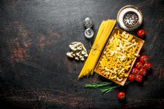 Different types of raw pasta with tomatoes, spices and mushrooms. On dark rustic background royalty free stock image