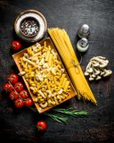Different types of raw pasta with tomatoes, spices and mushrooms. On dark rustic background stock photography