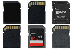 Different types of removable flash memory cards and Micro SD Ada Stock Photos