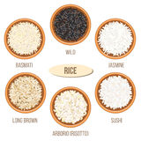 Different types of rice in bowls. Basmati, wild, jasmine, long brown, arborio, sushi Stock Image