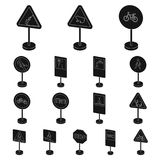 Different types of road signs black icons in set collection for design. Warning and prohibition signs vector symbol Royalty Free Stock Photography