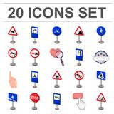 Different types of road signs cartoon icons in set collection for design. Warning and prohibition signs vector symbol Royalty Free Stock Image
