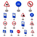 Different types of road signs cartoon icons in set collection for design. Warning and prohibition signs vector symbol Royalty Free Stock Photos