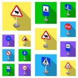 Different types of road signs flat icons in set collection for design. Warning and prohibition signs vector symbol stock Stock Photos